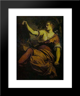 Allegory Of Prudence: Modern Black Framed Art Print by Tintoretto