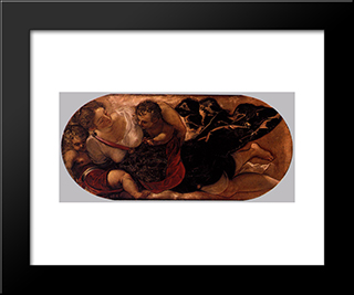 Allegory Of The Scuola Della Carita: Modern Black Framed Art Print by Tintoretto