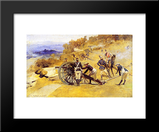 A Battery Field Artillery, New South Wales: Modern Black Framed Art Print by Tom Roberts