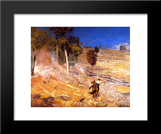 A Break Away!: Modern Black Framed Art Print by Tom Roberts