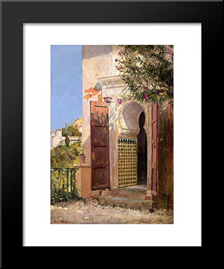 A Moorish Doorway: Modern Black Framed Art Print by Tom Roberts