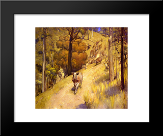 A Mountain Muster: Modern Black Framed Art Print by Tom Roberts