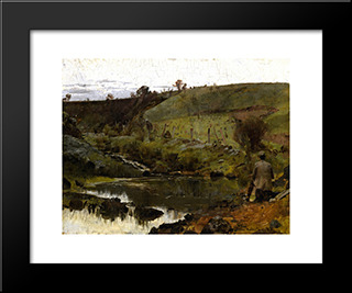 A Quiet Day On The Darebin Creek: Modern Black Framed Art Print by Tom Roberts