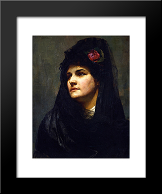 A Spanish Beauty: Modern Black Framed Art Print by Tom Roberts