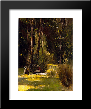 A Sunday Afternoon Picnic At Box Hill: Modern Black Framed Art Print by Tom Roberts
