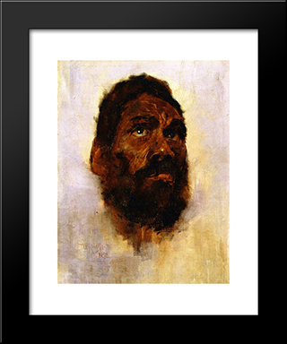 Aboriginal Head - Charlie Turner: Modern Black Framed Art Print by Tom Roberts