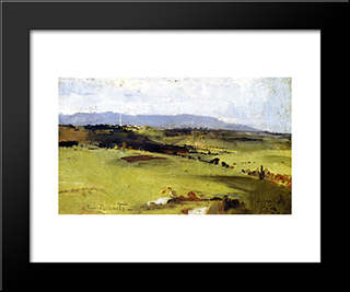 Across To The Dandenongs: Modern Black Framed Art Print by Tom Roberts