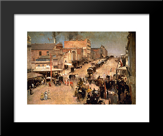 Allegro Con Brio, Bourke St. West: Modern Black Framed Art Print by Tom Roberts