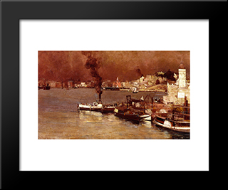 An Autumn Morning, Milson'S Point, Sydney: Modern Black Framed Art Print by Tom Roberts