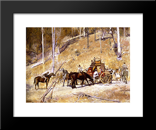 Bailed Up: Modern Black Framed Art Print by Tom Roberts