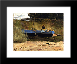 Boat On Beach, Queenscliff: Modern Black Framed Art Print by Tom Roberts