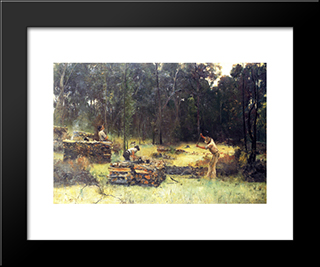 Charcoal Burners: Modern Black Framed Art Print by Tom Roberts
