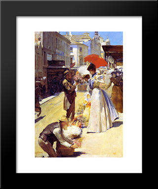 Christmas Flowers And Christmas Belles: Modern Black Framed Art Print by Tom Roberts