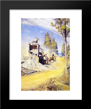 Country Road Makers 1923: Modern Black Framed Art Print by Tom Roberts