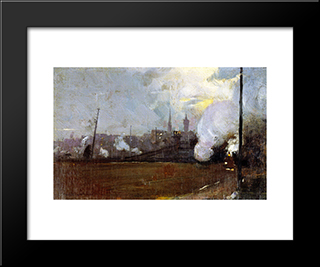 Evening Train To Hawthorn: Modern Black Framed Art Print by Tom Roberts