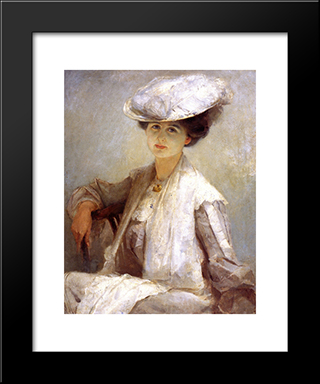 Grey Lady (Mrs. Ince): Modern Black Framed Art Print by Tom Roberts