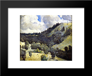 Hillside: Modern Black Framed Art Print by Tom Roberts