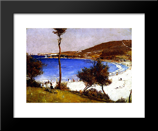 Holiday Sketch At Coogee: Modern Black Framed Art Print by Tom Roberts