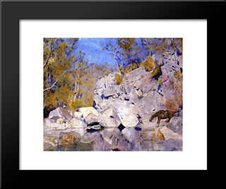 In A Corner On The Macintyre: Modern Black Framed Art Print by Tom Roberts