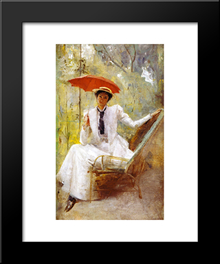 Lady With A Parasol: Modern Black Framed Art Print by Tom Roberts