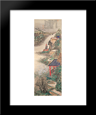 Abe-No-Nakamaro Writing Nostalgic Poem While Moon-Viewing: Modern Black Framed Art Print by Tomioka Tessai