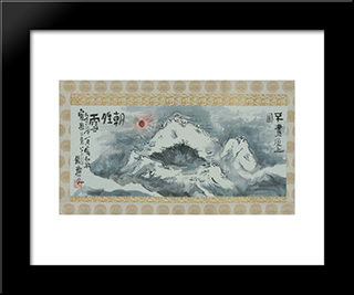 Clearing Weather After Snow On Summit Of Mt. Fuji: Modern Black Framed Art Print by Tomioka Tessai