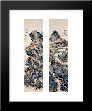Earthly Paradise And Sacred Mountains: Modern Black Framed Art Print by Tomioka Tessai