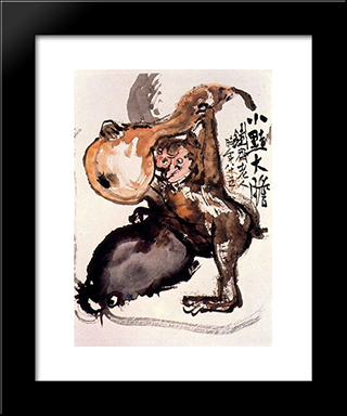 Monkey: Modern Black Framed Art Print by Tomioka Tessai