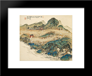 Mountain Of Immortals: Modern Black Framed Art Print by Tomioka Tessai