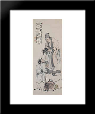 Scholar And Figure: Modern Black Framed Art Print by Tomioka Tessai