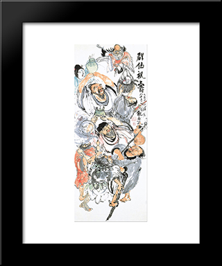 Taoist Immortals Celebrating Longevity: Modern Black Framed Art Print by Tomioka Tessai