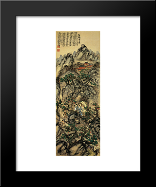 Tomioka Tessai Encountering With Immortal Women: Modern Black Framed Art Print by Tomioka Tessai