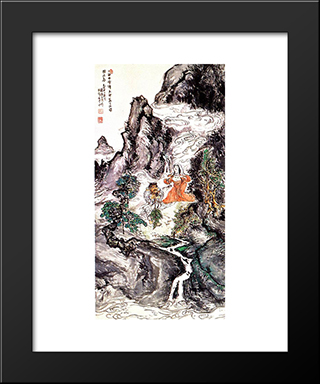 Two Divinities Dancing: Modern Black Framed Art Print by Tomioka Tessai