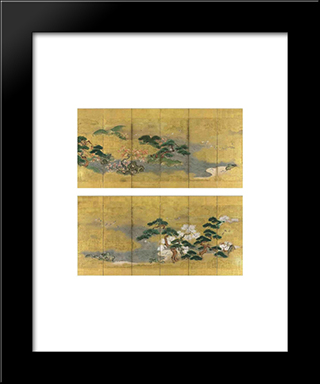 Birds And Flowers In Spring And Autumn: Modern Black Framed Art Print by Tosa Mitsuoki