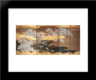Cherry Trees: Modern Black Framed Art Print by Tosa Mitsuoki