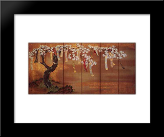 Flowering Cherry With Poem Slips: Modern Black Framed Art Print by Tosa Mitsuoki