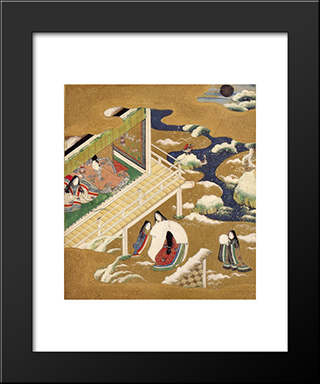 Illustration Of The Genji Monogatari (Asagao, The Blue Bell): Modern Black Framed Art Print by Tosa Mitsuoki