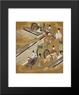 Illustration Of The Genji Monogatari (The Perfumed Prince): Modern Black Framed Art Print by Tosa Mitsuoki