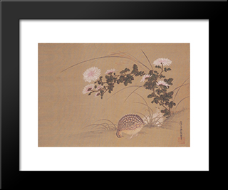 Quail And Chrysanthemums: Modern Black Framed Art Print by Tosa Mitsuoki