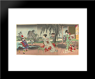 Fireflies At A Country House: Modern Black Framed Art Print by Toyohara Chikanobu