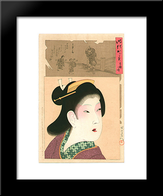 Kyouhou - Mirror Of The Ages: Modern Black Framed Art Print by Toyohara Chikanobu