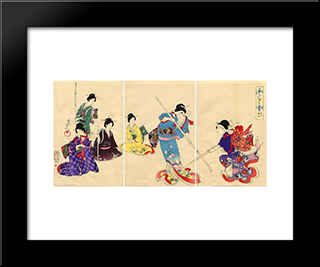 Practicing Pole Sword: Modern Black Framed Art Print by Toyohara Chikanobu