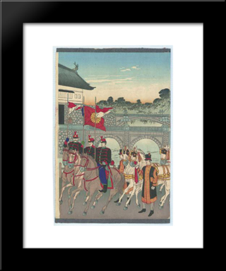 Promulgation Of The Constitution: Modern Black Framed Art Print by Toyohara Chikanobu