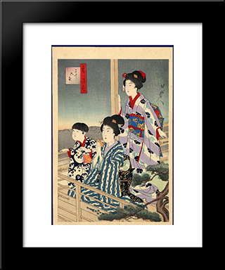 Viewing From A Balcony: Modern Black Framed Art Print by Toyohara Chikanobu