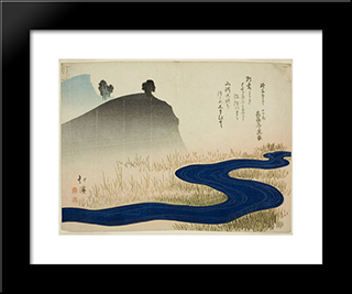A Mountainous Landscape With A Stream: Modern Black Framed Art Print by Toyota Hokkei