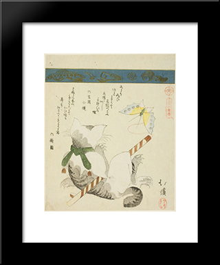 Cat Playing With A Toy Butterfly: Modern Black Framed Art Print by Toyota Hokkei