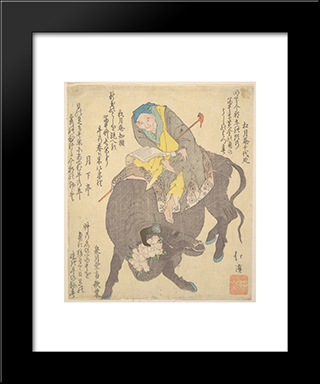 Chinese Sage Reading While Riding On A Buffalo: Modern Black Framed Art Print by Toyota Hokkei