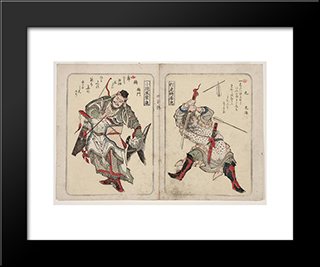Chinese Warriors, From Series Suikoden: Modern Black Framed Art Print by Toyota Hokkei