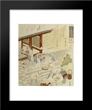 Eighteen Old Addages, Taking Gifts To The Temple: Modern Black Framed Art Print by Toyota Hokkei