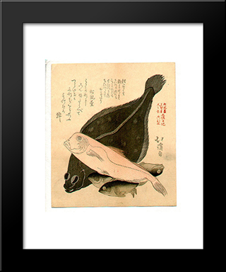 Fish: Modern Black Framed Art Print by Toyota Hokkei